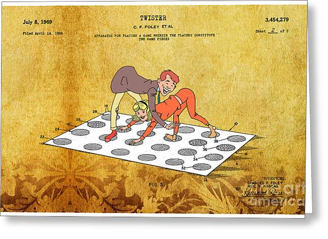 Board Game Greeting Cards - 1969 Twister Patent Art 3 Greeting Card by Nishanth Gopinathan