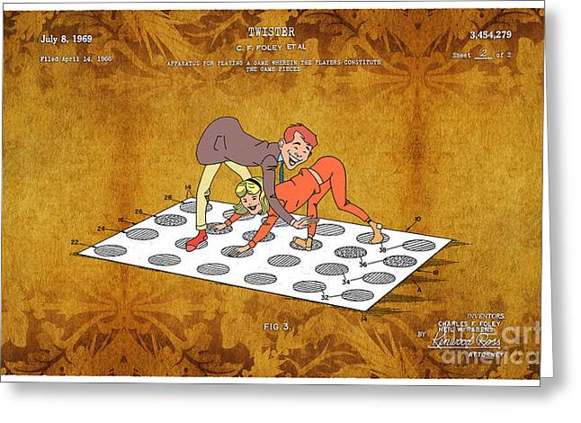 Board Game Greeting Cards - 1969 Twister Patent Art 4 Greeting Card by Nishanth Gopinathan