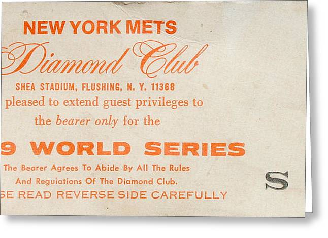 Yankee Tickets Greeting Cards - 1969 World Series Diamond Club Ticket Greeting Card by Melinda Saminski