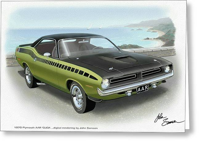 Valiant Greeting Cards - 1970 BARRACUDA AAR Cuda muscle car sketch rendering Greeting Card by John Samsen