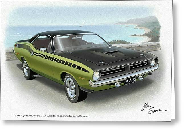 1970 Barracuda Aar Cuda Muscle Car Sketch Rendering Greeting Card by John Samsen