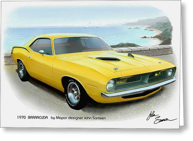 Valiant Greeting Cards - 1970 BARRACUDA classic Cuda Plymouth muscle car sketch rendering Greeting Card by John Samsen
