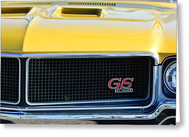 Famous Photographer Greeting Cards - 1970 Buick GS Grille Emblem Greeting Card by Jill Reger