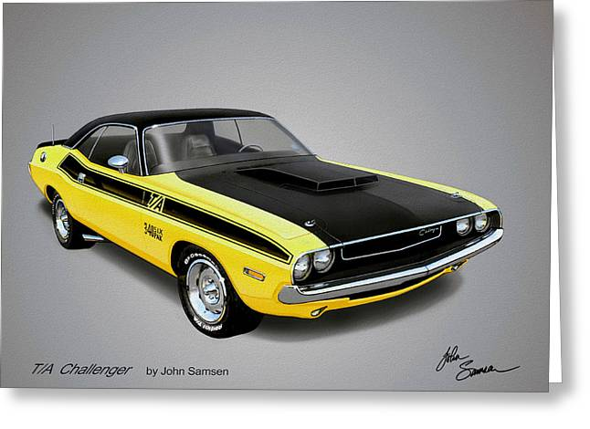 Valiant Greeting Cards - 1970 CHALLENGER T-A muscle car sketch rendering Greeting Card by John Samsen