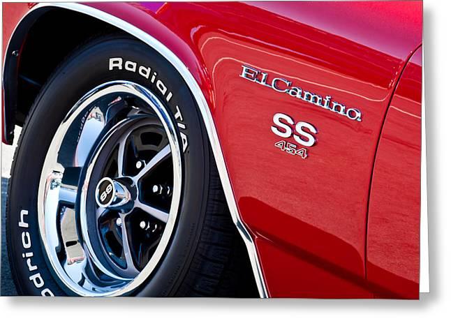 Wheels Greeting Cards - 1970 Chevrolet el Camino SS 454 CI Wheel Emblem Greeting Card by Jill Reger