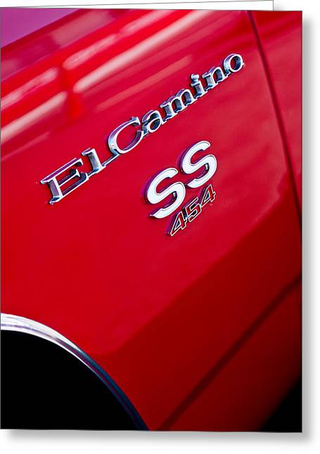 Famous Photographers Greeting Cards - 1970 Chevrolet El Camino SS 454 Emblem Greeting Card by Jill Reger