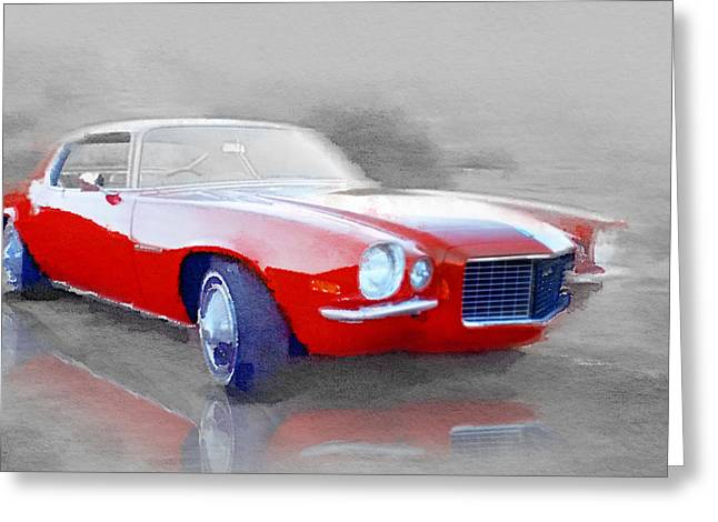 Chevy Greeting Cards - 1970 Chevy Camaro Watercolor Greeting Card by Naxart Studio