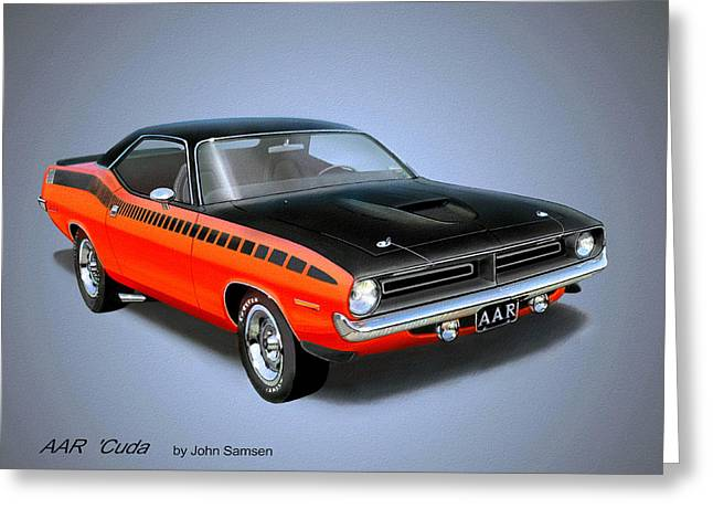 Valiant Greeting Cards - 1970 CUDA AAR  classic Barracuda vintage Plymouth muscle car art sketch rendering         Greeting Card by John Samsen