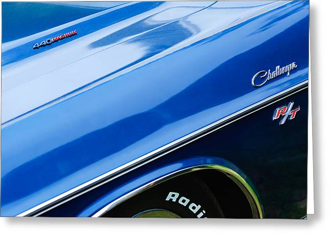 Challenger Greeting Cards - 1970 Dodge Challenger RT Convertible Emblems Greeting Card by Jill Reger