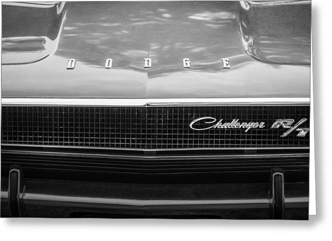 Challenger Greeting Cards - 1970 Dodge Challenger RT Convertible Grille Emblem -0545bw Greeting Card by Jill Reger