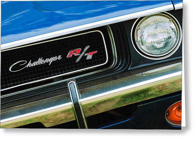 Challenger Greeting Cards - 1970 Dodge Challenger RT Convertible Grille Emblem Greeting Card by Jill Reger