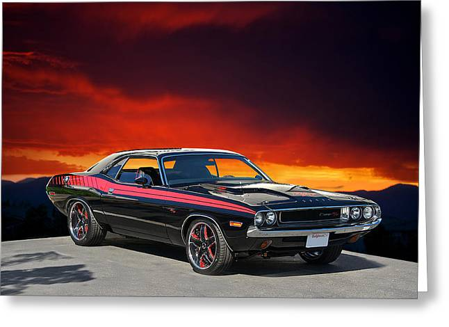 American Automobiles Greeting Cards - 1970 Dodge Challenger RT Greeting Card by Dave Koontz