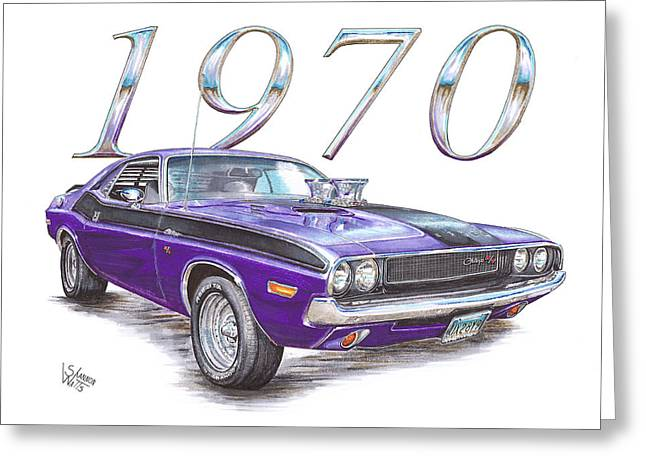 Plumb Greeting Cards - 1970 Dodge Challenger Greeting Card by Shannon Watts