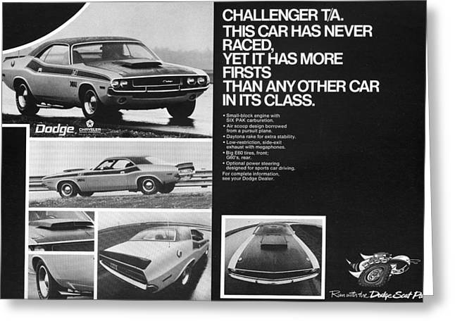 1970 Dodge Challenger T/A Greeting Card by Digital Repro Depot