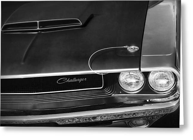 Death Proof Greeting Cards - 1970 Dodge Challenger T/A in Black and White Greeting Card by Gordon Dean II