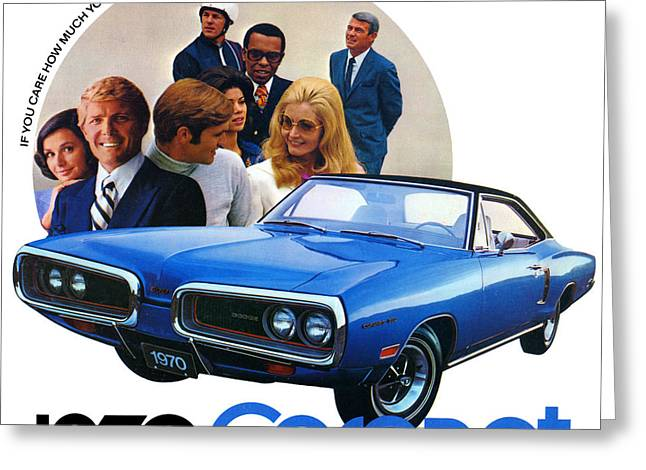 Dodge Coronet Super Bee Greeting Cards - 1970 Dodge Coronet 500 Greeting Card by Digital Repro Depot