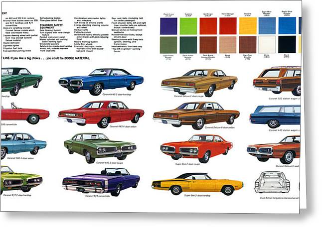 Dodge Coronet Super Bee Greeting Cards - 1970 Dodge Coronet Models and Colors Greeting Card by Digital Repro Depot