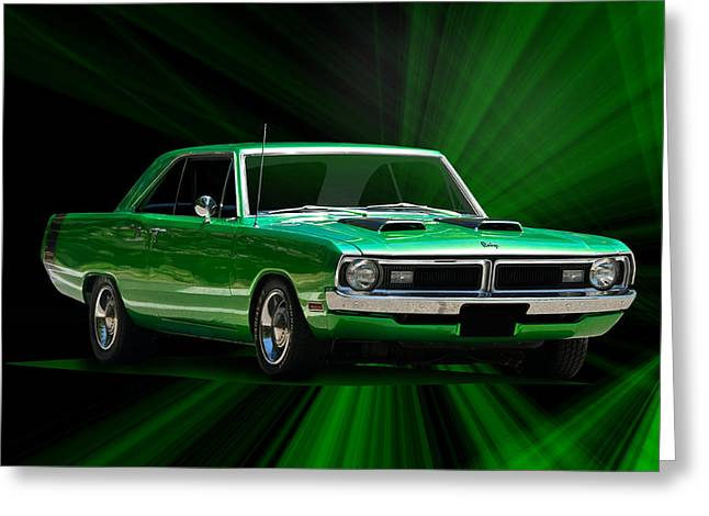 American Automobiles Greeting Cards - 1970 Dodge Dart Swinger Greeting Card by Dave Koontz