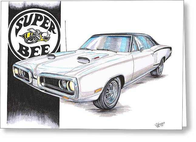 Bees Drawings Greeting Cards - 1970 Dodge Super Bee Greeting Card by Shannon Watts