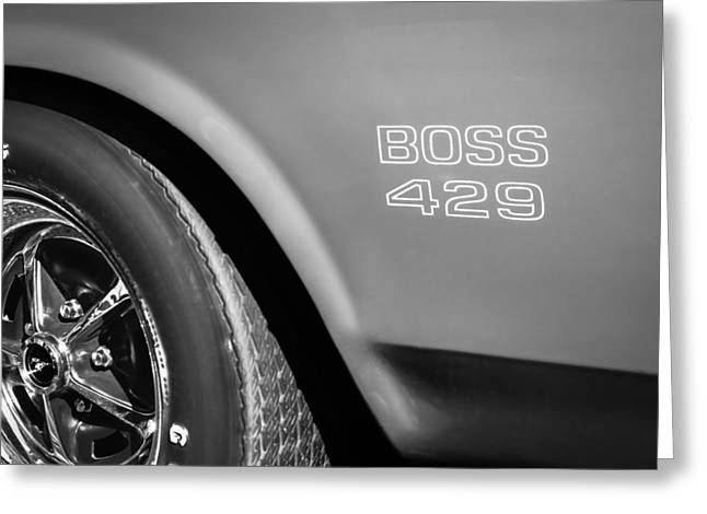 1970 Ford Mustang Boss 429 Wheel Emblem -0370bw Greeting Card by Jill Reger