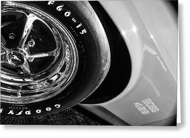 1970 Ford Mustang Boss 429 Wheel Emblem -0387bw Greeting Card by Jill Reger