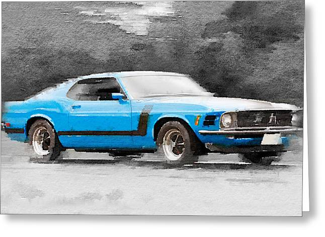 1970 Ford Mustang Boss Blue Watercolor Greeting Card by Naxart Studio