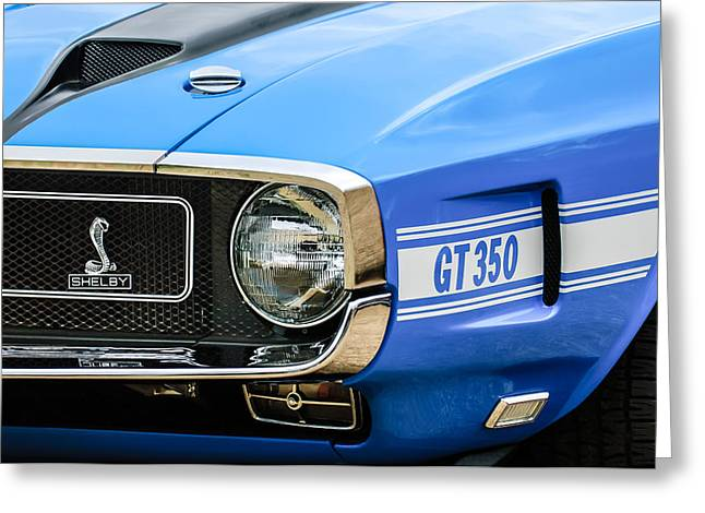 Gt-350 Greeting Cards - 1970 Ford Mustang Convertible GT350 Replica Grille Emblem Greeting Card by Jill Reger