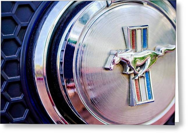 Mach 1 Greeting Cards - 1970 Ford Mustang Mach 1 Emblem Greeting Card by Jill Reger
