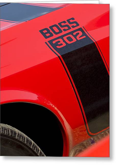 Famous Photographers Greeting Cards - 1970 Ford Mustang Sportsroof Boss 302 Emblem Greeting Card by Jill Reger