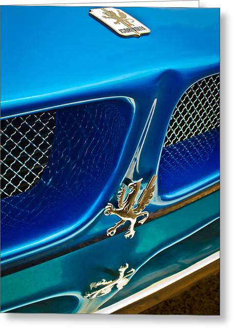 Vintage Hood Ornament Greeting Cards - 1970 Iso Rivolta Grifo Emblem  -0146c Greeting Card by Jill Reger