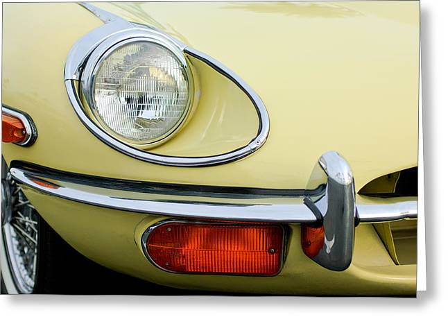 E Type Greeting Cards - 1970 Jaguar XK Type-E Headlight Greeting Card by Jill Reger