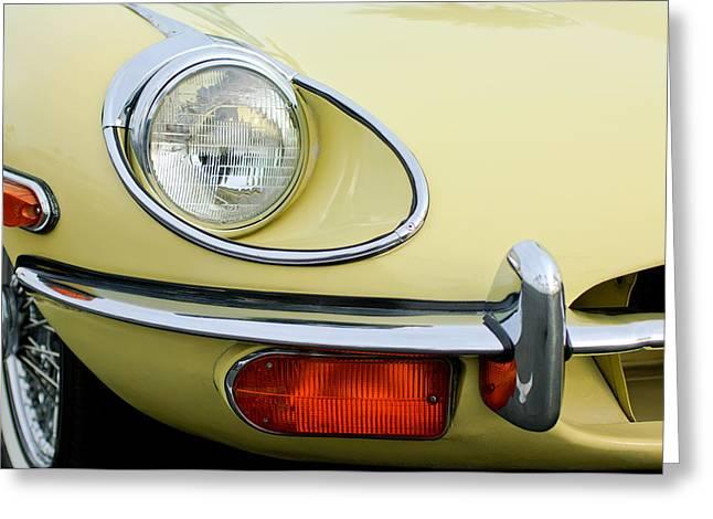 Headlight Photographs Greeting Cards - 1970 Jaguar XK Type-E Headlight Greeting Card by Jill Reger