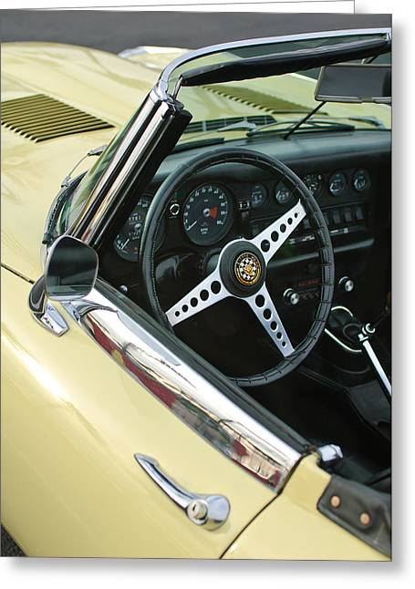 Famous Photographer Greeting Cards - 1970 Jaguar XK Type-E Steering Wheel Greeting Card by Jill Reger