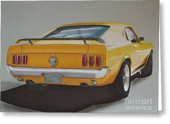 Exhaust Drawings Greeting Cards - 1970 Mustang Fastback Greeting Card by Paul Kuras