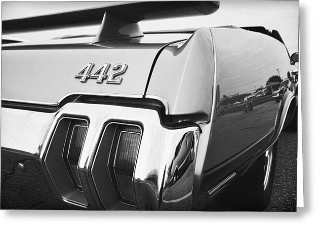 Drag-race Greeting Cards - 1970 Olds 442 Black and White Greeting Card by Gordon Dean II