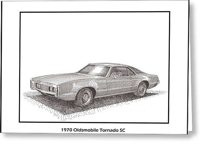 Pen And Ink Drawing Greeting Cards - 1970 Oldsmobile Tornado S C Greeting Card by Jack Pumphrey
