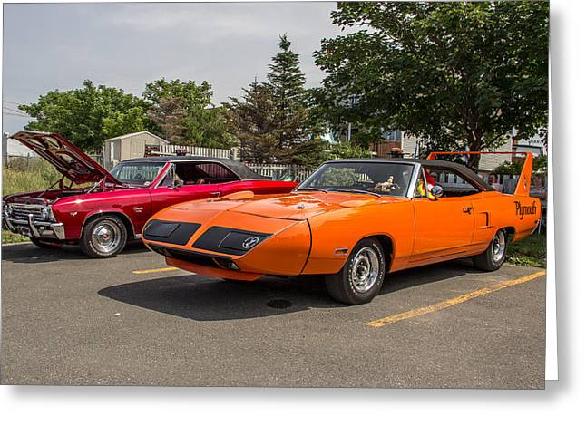 Subcompact Greeting Cards - 1970 Plymouth Roadrunner Superbird Greeting Card by Crystal Fudge
