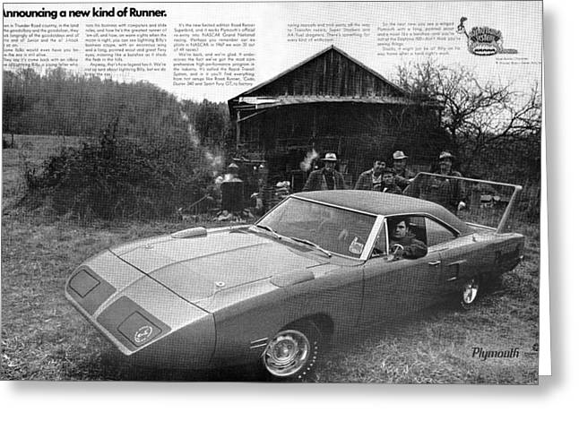 Road Crew Greeting Cards - 1970 Plymouth Superbird - Announcing a new kind of Runner Greeting Card by Digital Repro Depot