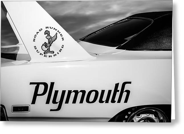 Road Runner Greeting Cards - 1970 Plymouth Superbird Emblem -0520bw Greeting Card by Jill Reger