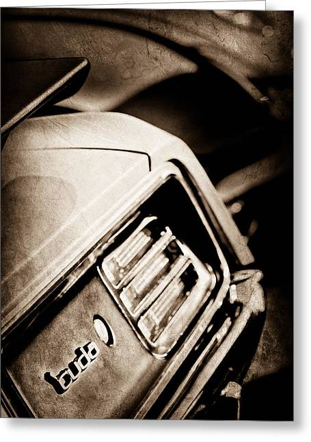 Cuda Greeting Cards - 1970 Pontiac Barracuda Cuda Taillight Emblem Greeting Card by Jill Reger