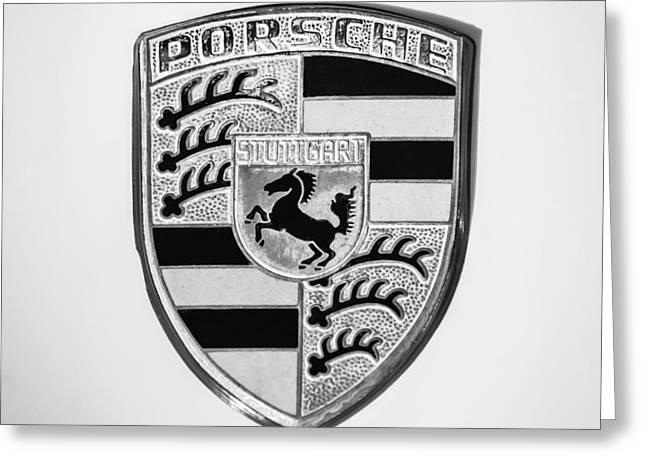 E Black Greeting Cards - 1970 Porsche 911 E 2.2 Coupe Sportomatic Emblem - 1029bw55 Greeting Card by Jill Reger