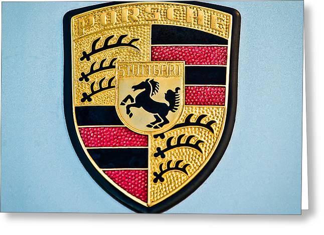 Famous Photographers Greeting Cards - 1970 Porsche 911 S Emblem - 1 Greeting Card by Jill Reger