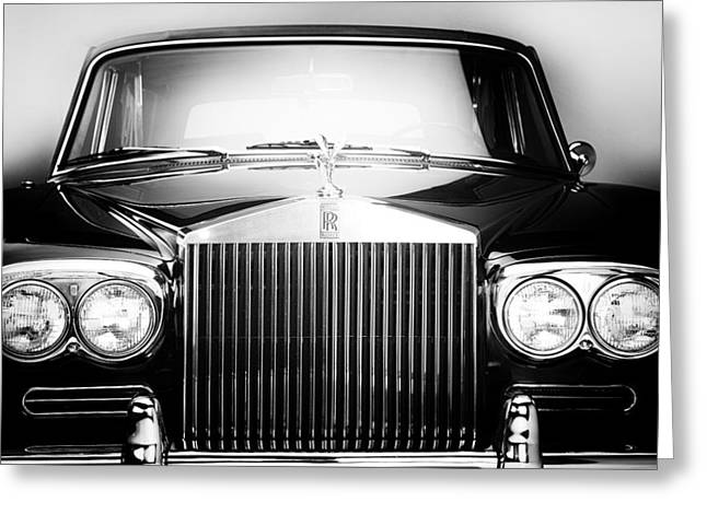 Recently Sold -  - Collector Hood Ornament Greeting Cards - 1970 Rolls Royce Silver Shadow Hood Ornament and Front  Greeting Card by Nomad Art And  Design