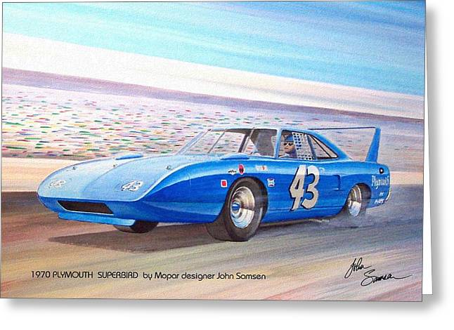 Valiant Greeting Cards - 1970 SUPERBIRD Petty NASCAR racecar muscle car sketch rendering Greeting Card by John Samsen