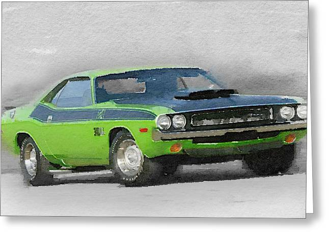 Challenger Greeting Cards - 1970-TA-Challenger Watercolor Greeting Card by Naxart Studio
