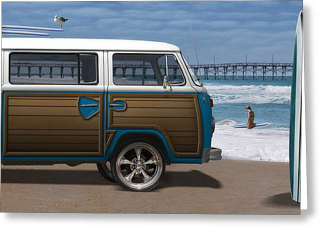 Surf City Greeting Cards - 1970 VW Bus Woody Greeting Card by Mike McGlothlen