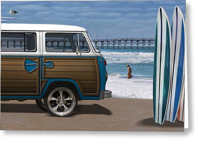 City Pier Greeting Cards - 1970 VW Bus Woody Greeting Card by Mike McGlothlen