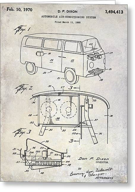 Recently Sold -  - 1960 Greeting Cards - 1970 VW Patent Drawing Greeting Card by Jon Neidert