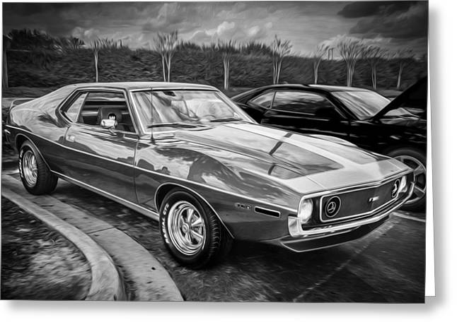 American Motors Corporation Greeting Cards - 1971 AMC Javelin 360 AMX  BW Greeting Card by Rich Franco