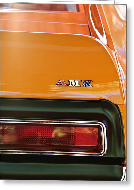 Amc Greeting Cards - 1971 AMC Javelin AMX Taillight Emblem Greeting Card by Jill Reger
